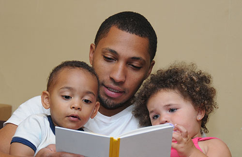 A father reading to his children