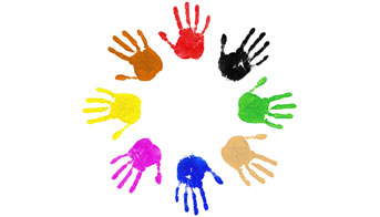 This is a picture of childrens' painted hands