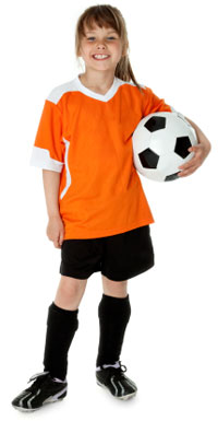 child in soccer uniform