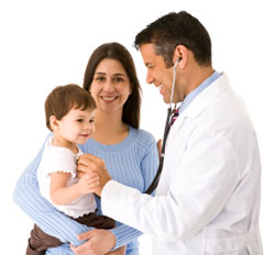 Mother holding baby while physician listens to heart beat