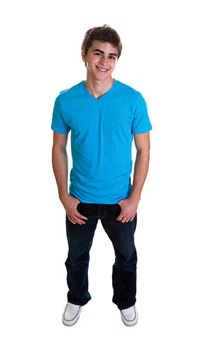 A teenage boy wearing a blue shirt