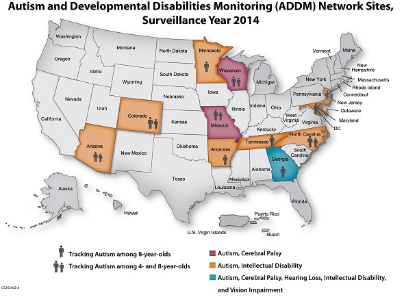 Current ADDM Network Sites Map in the United States, Surveillance Year 2014