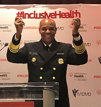U.S Surgeon General, Dr. Jerome Adams, at the join AADMD/Special Olympics Inclusive Health Summit for the launch of Center for Inclusive Health.