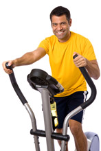 Man on elliptical machine