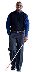 Blind man with walking cane