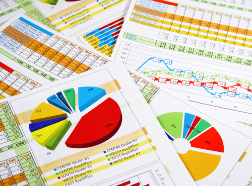 Stack of data charts