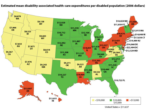 Estimated mean disability-associated health-care expenditures per diabled-population (2006 dollars)