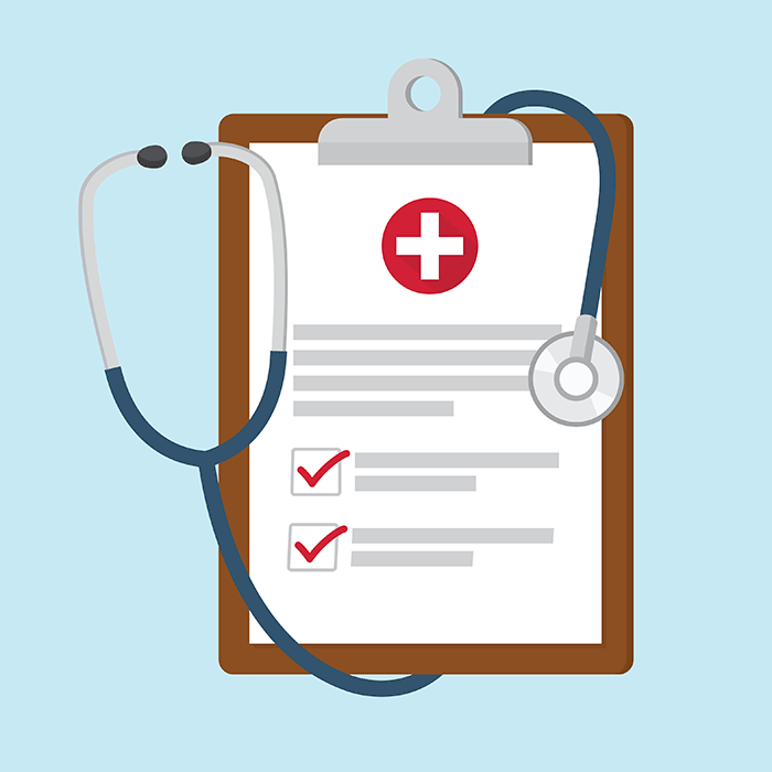 Medical clipboard with stethoscope - Illustration