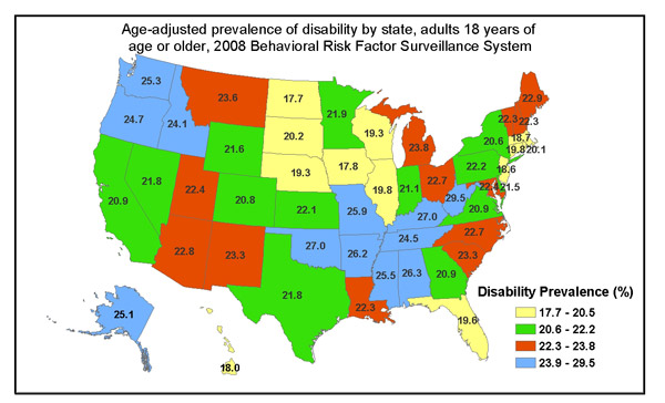 Age-adjusted Prevalence of Disability by State, adults age 18 or older, 2008 Behavioral Risk Factor Surveillance System