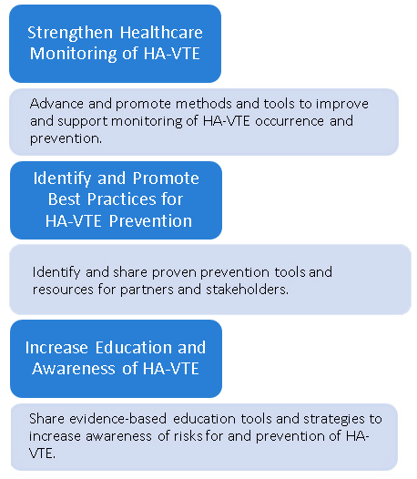 Monitoring trends in HA-VTE occurrence and prevention, Identifying best prevention practices, Communicating best practices