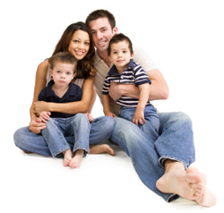 Boys sitting on parents laps