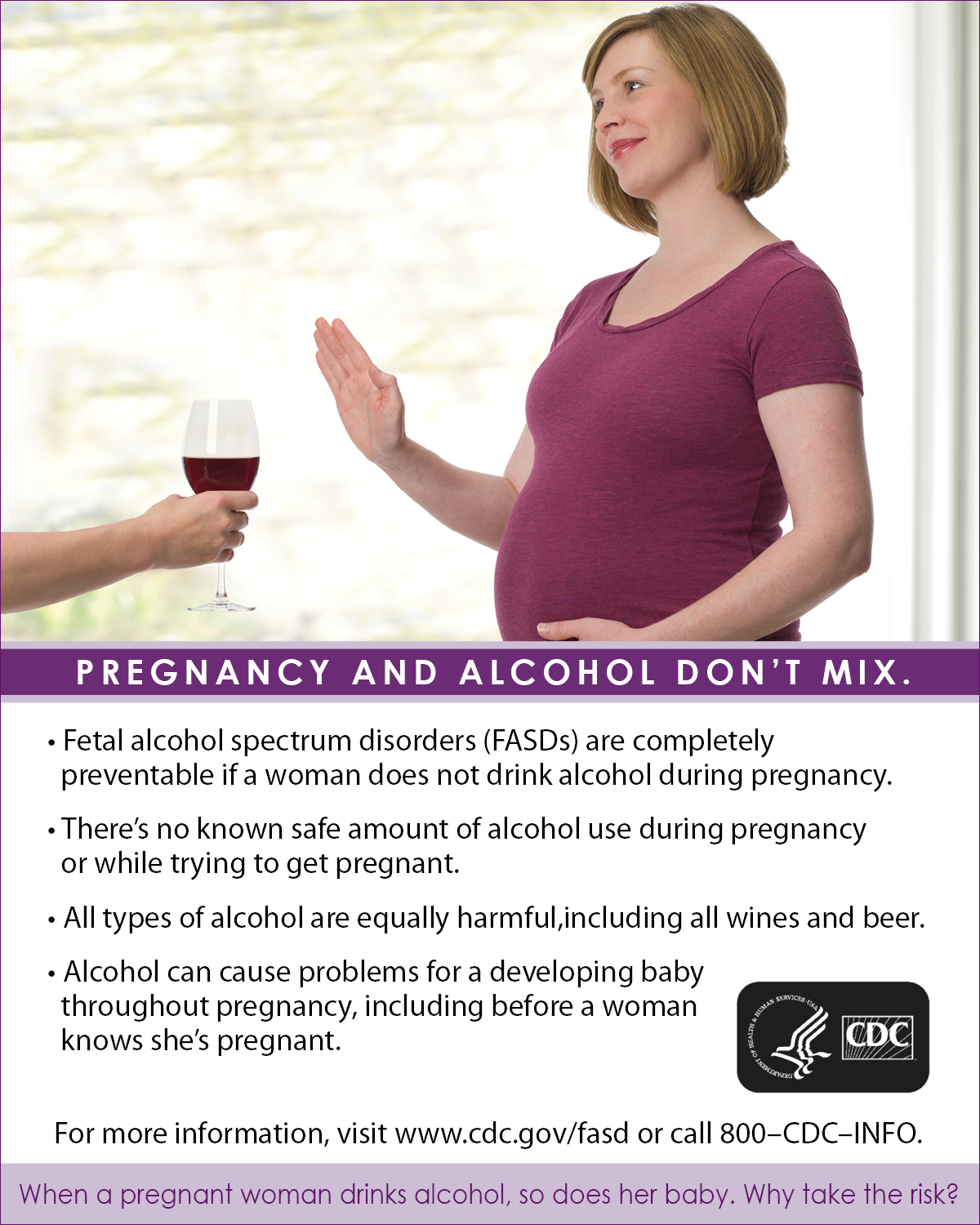 Pregnant woman refusing a glass of wine