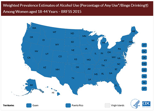 Weighted Prevalence Estimates of Alcohol Use (Percentage of Any Use*/Binge Drinking†) Among Women aged 18-44 Years – BRFSS 2015