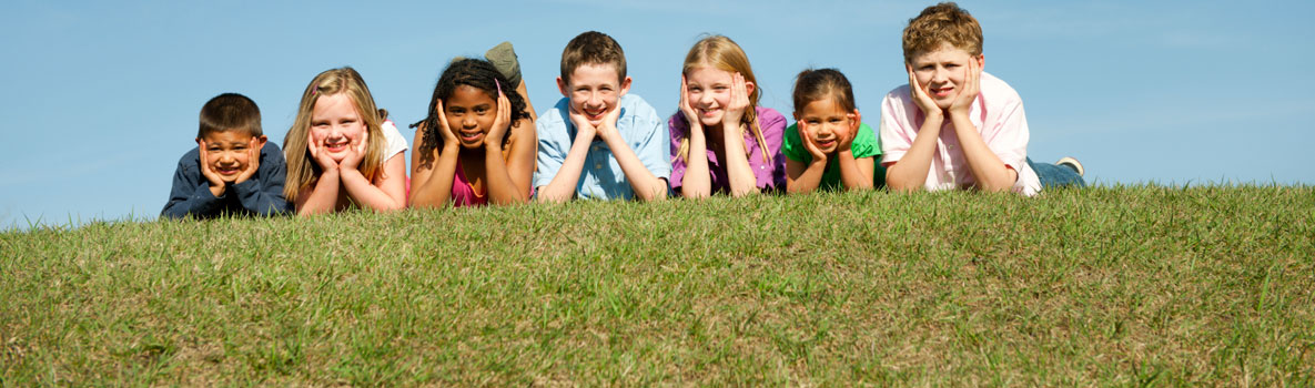 Group of children on grass