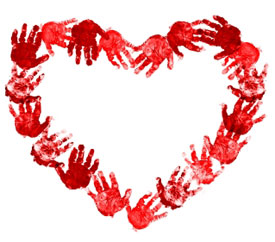 Red hands in the shape of a heart.