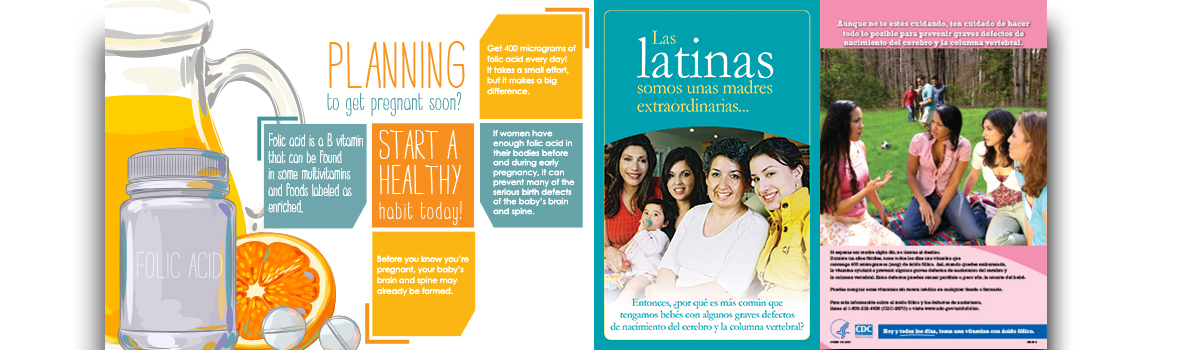 Folic acid banner focused on Hispanic women