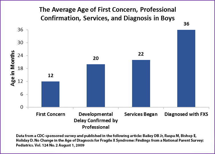 Chart: The average age of first concern, professional confirmation, services, and diagnosis in boys