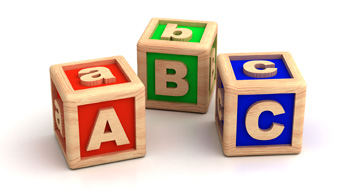 Wooden blocks with the letters A, B, and C