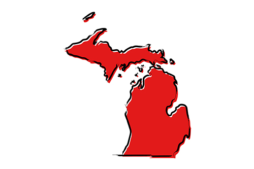 Red sketch map of  the state of Michigan
