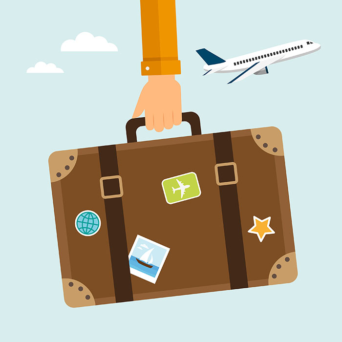 Illustration: Holding a suitcase with a plane in the air