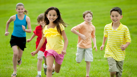 A group of kids running