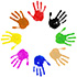 circle of hand prints in different colors icon