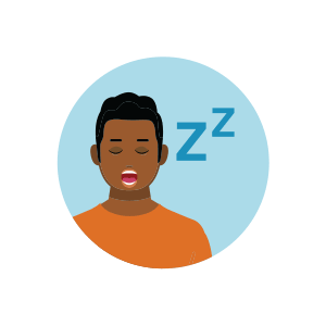 Illustration showing person sleeping