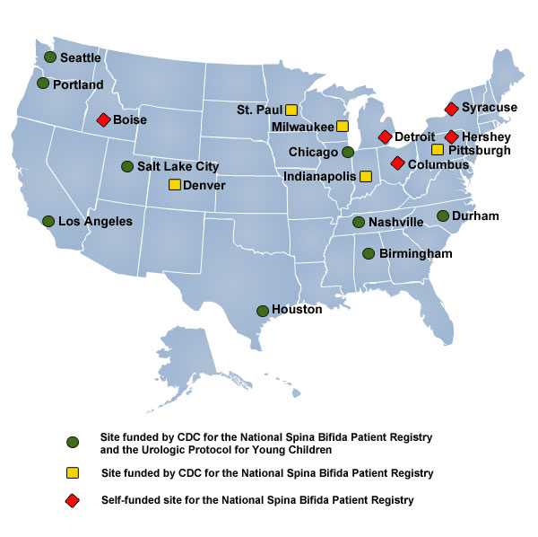 US Map showing Geographic distribution of multidisciplinary clinics in National Spina Bifida Registry Project
