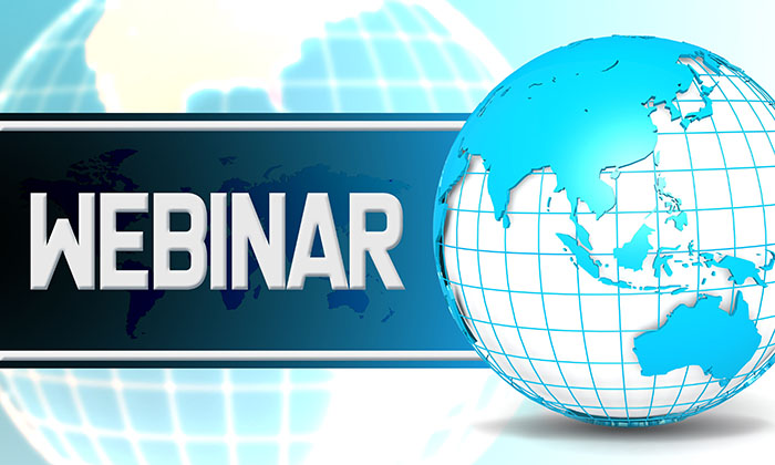Webinar with sphere globe with white background
