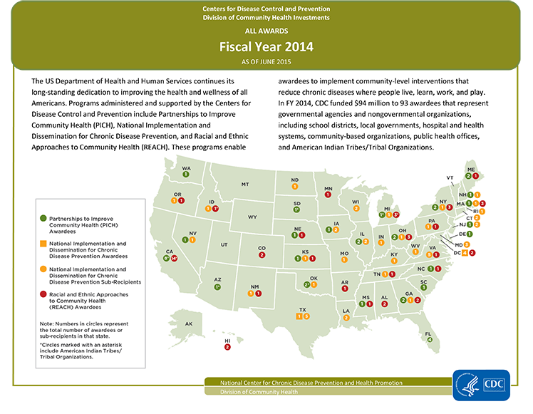 Map of Fiscal Year 2014 Division of Community Health Awardees