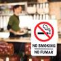 Photo of No Smoking sign in restaurant