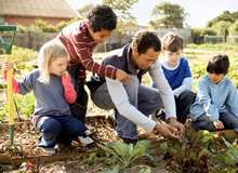 African-American man showing children how to garden