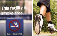 No Smoking sign indicating smoke-free facility and close-up image of feet running
