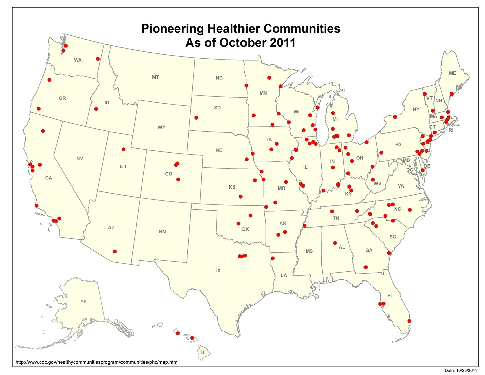Pioneering Healthier Communities map as of October 2011