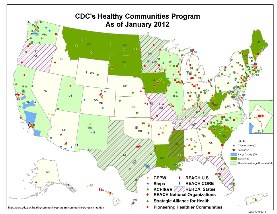 CDC's Healthy Communities Program overall map as of January 2012
