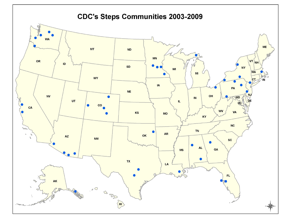 CDC's Steps Communities map 2003-2009