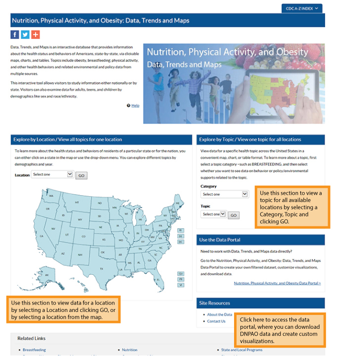Screen Capture Of New Data Trends And Maps Page With Callout Boxes Highlighting New