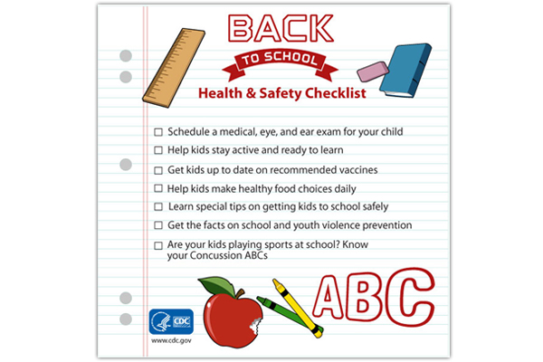 School health and safety checklist infographic