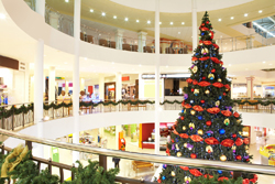 A shopping mall decorated for the holidays