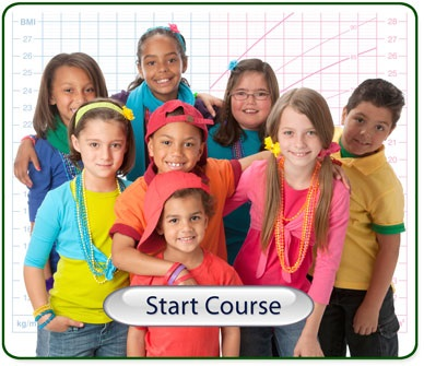 Image of a group of children with a Start Course button -
