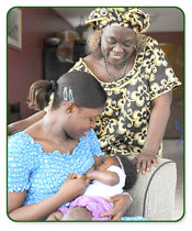 Image of a grandma, mom and baby