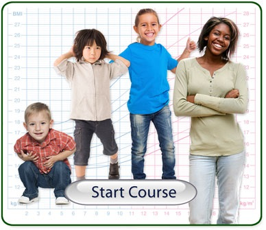 Start Course Button - Image includes children and teen aged 2 Years to 20 years