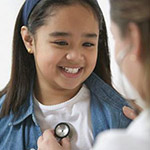 A girl getting a checkup