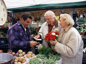 Older couple at farmer's market
