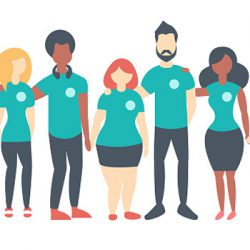 Diverse group of cartoon illustrated people dressed in teal shirts, linking arms