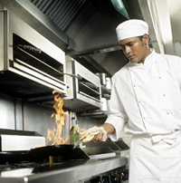 Photo of a chef cooking.