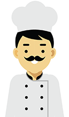 Graphic artwork of a chef