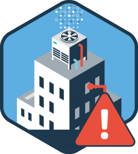 Icon with a building and exclamation over it to signify danger from the cooling towers.