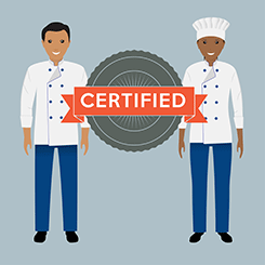 Graphic image of a male and female food worker with a badge reading