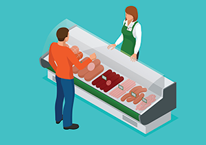Graphic image of a deli counter with a customer speaking to food worker.